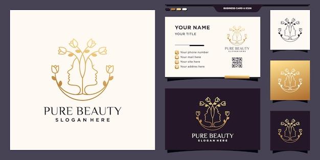 미용실, 화장품, 스파를 위한 여성의 얼굴과 꽃이 있는 순수한 아름다움 로고. 아이콘 로고 템플릿 및 명함 디자인 premium 벡터