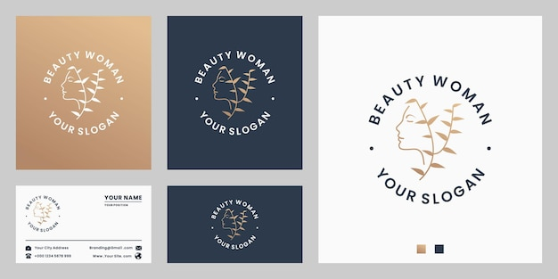 Pure beauty, natural woman logo design for salon and spa