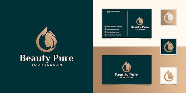 Pure beauty oil logo for salon spa and female beauty  templates and business cards