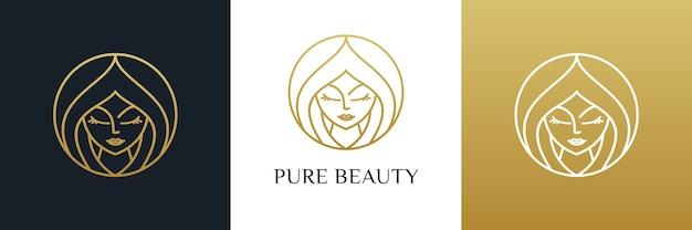 純粋な美しさの女性のヘアサロンのロゴのデザイン。ラグジュアリーなフェミニンなテンプレート。