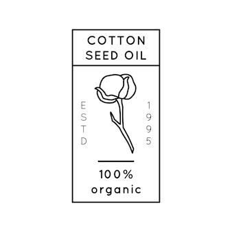 순수 목화씨 오일 라이너 라벨 및 배지 - 벡터 아이콘, 스티커, 스탬프, 태그 목화 꽃 흰색 배경에 고립 - 천연 유기농 오일 로고.