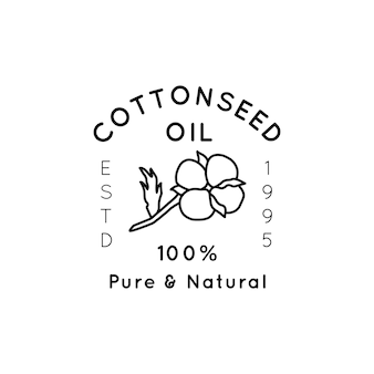 Pure cottonseed oil liner labels and badges - vector icon, sticker, stamp, tag cotton flower isolated on white background - natural organic oil logo.