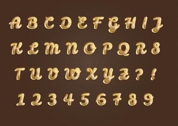 순수한 황금 알파벳 숫자 세트