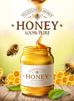 Pure honey ads with cute honey bee and honeycomb on wooden table