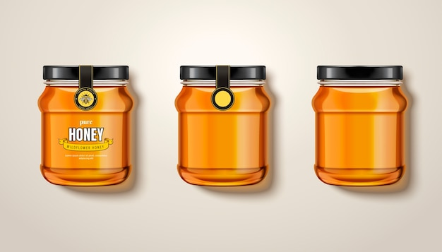 Pure honey jar , top view of glass jars with honey in  illustration, some with labels and package