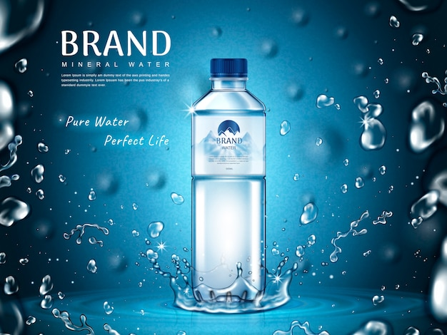 Pure mineral water ad, plastic bottle in the middle and flying water drop elements, blue background