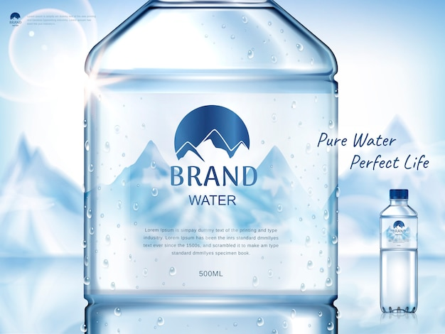 Pure mineral water ad, with bottle close up in the middle and smaller bottle on the right side, snow mountain background