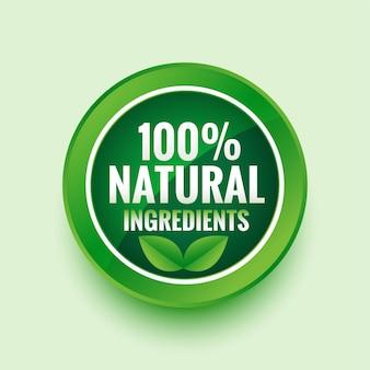 Etichetta verde con ingredienti naturali puri con foglie