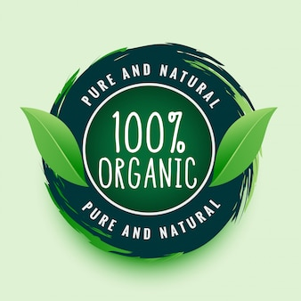 Pure and natural organic label or sticker
