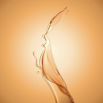 순수한 오일 성분, 헤어 케어 성분의 스킨 케어, 튀는 액체