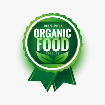 Pure organic food green leaves label or sticker