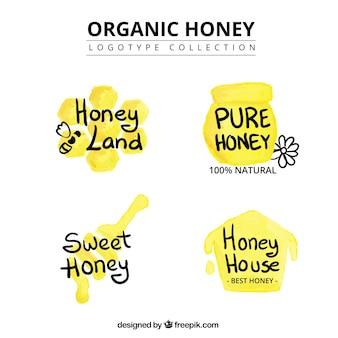 Pure organic honey, logos