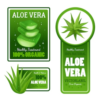 Pure organic natural green aloe vera leaves healthy treatment label banners with text