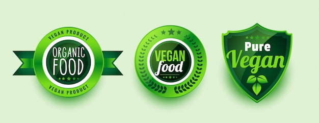 Pure organic vegan food labels or stickers