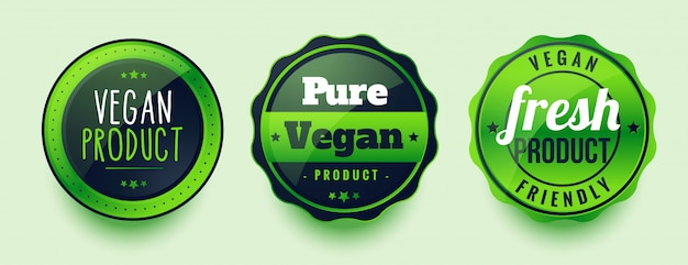 Pure vegan fresh labels set of three
