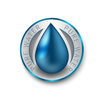 Pure water busines logo. blue drop symbol.  sign, icon, pictogram.