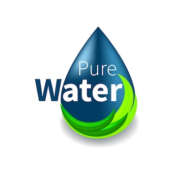 Pure water logo. blue drop symbol and eco green line.  sign, icon, pictogram.