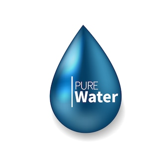 Pure water logo. blue drop symbol realistic  illustration.  sign, icon, pictogram.