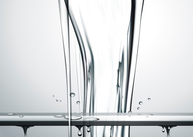 Чистая вода льется сверху, особый эффект