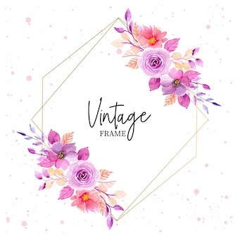 Purle watercolor floral vintage frame