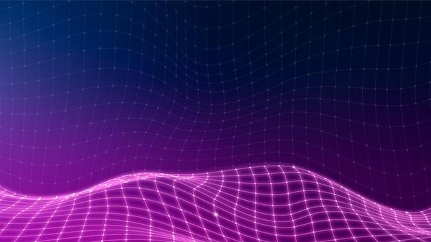 紫の3d抽象的な波パターン背景ベクトル