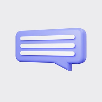 보라색 3d 거품 이야기 회색 배경에 고립입니다. 광택 있는 보라색 연설 거품, 대화, 메신저 모양. 소셜 미디어 또는 웹사이트를 위한 3d 렌더링 벡터 아이콘입니다.