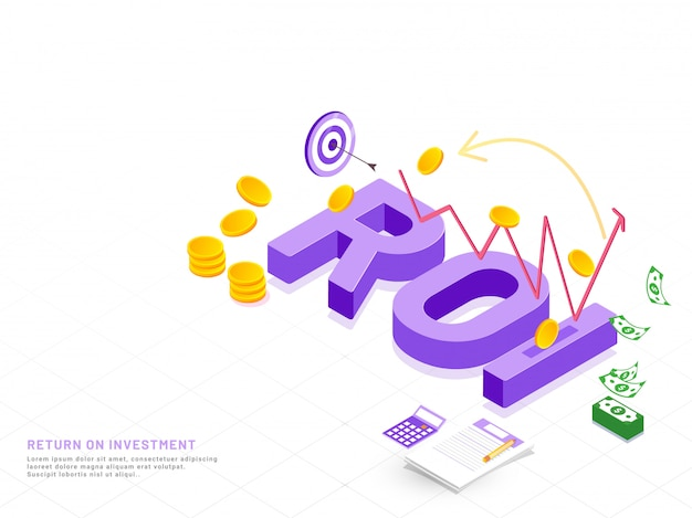 Фиолетовый 3d-текст roi на белом фоне.