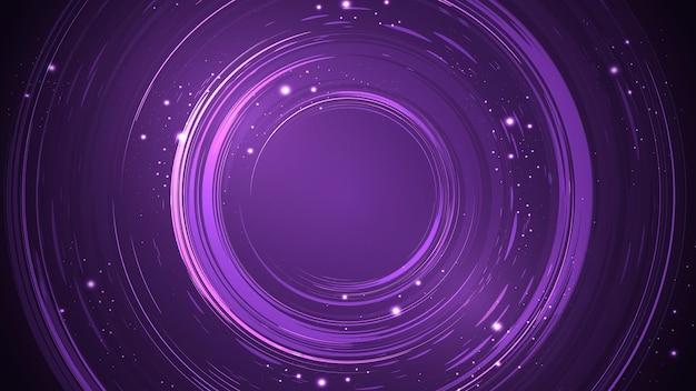 브러시로 만들고 반짝임으로 장식된 원형 모양이 있는 보라색 추상 배경.