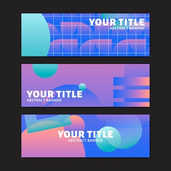 Purple abstract banner set
