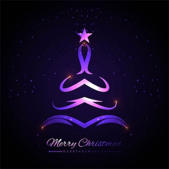 Purple abstract christmas tree