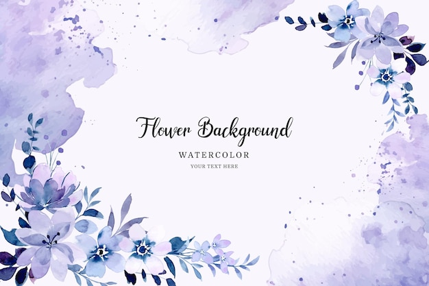 Purple abstract floral background with watercolor