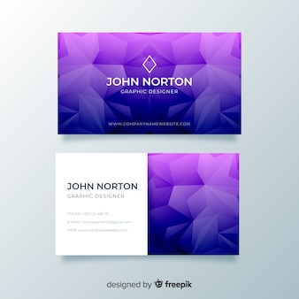 Purple abstract geometric business card