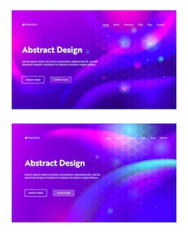 Purple abstract geometric hexagon shape landing page set background. futuristic digital sparkle gradient pattern. creative violet backdrop element website web page. flat cartoon vector illustration