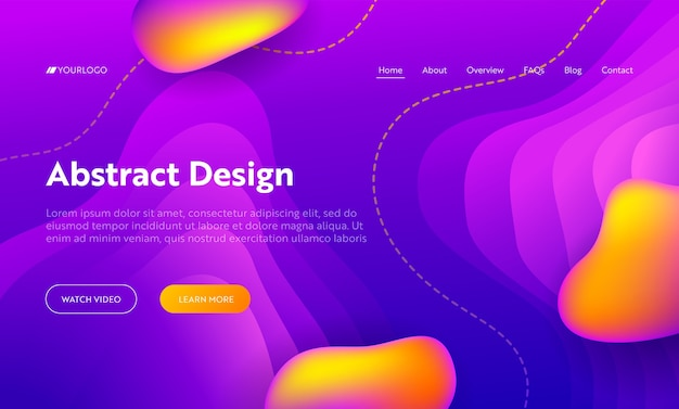 Purple abstract liquid drop shape landing page background. futuristic digital motion gradient pattern. creative colorful neon wavy backdrop for website web page. flat cartoon vector illustration