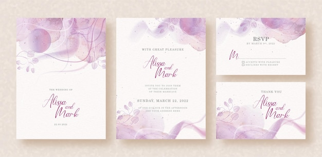 Purple abstract splash with leaves shapes watercolor on wedding invitation