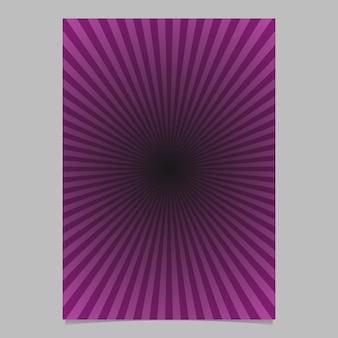 Purple abstract sun burst brochure template - gradient vector page background design with radial lines