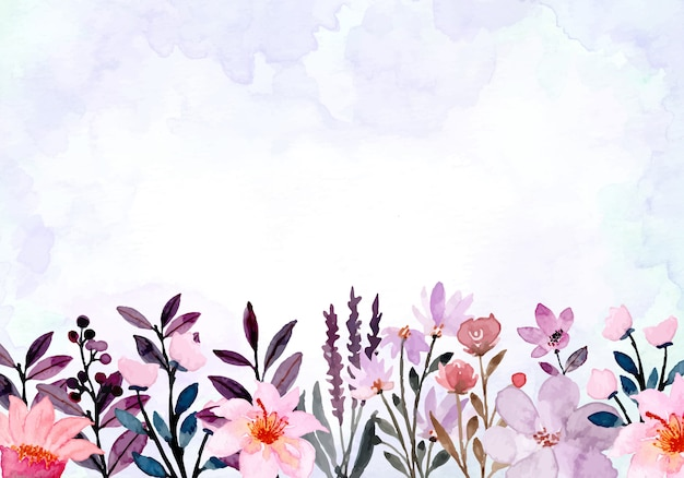 Purple abstract wild floral watercolor background