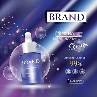 Purple ads with essence skin care  premium products on light background. vector 3d illustration.