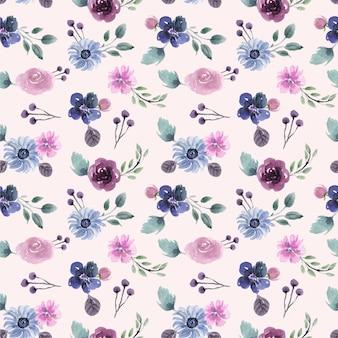 紫と青の花の美しい冬をテーマにした水彩画のシームレスパターン