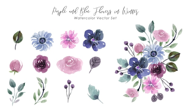 Фиолетовые и синие цветы в зимний акварельный векторный набор