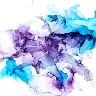 紫と青の色合いの水彩背景、ぬれた液体、手描きの背景水彩テクスチャ