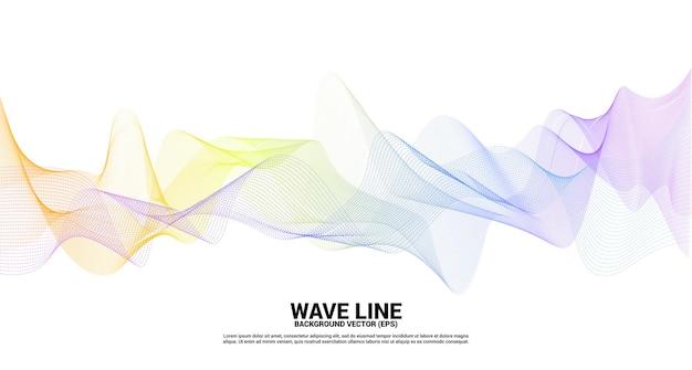 白地に紫と青の音波の線の曲線。
