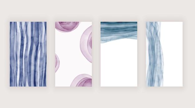 소셜 미디어 스토리를위한 보라색과 파란색 수채화 텍스처
