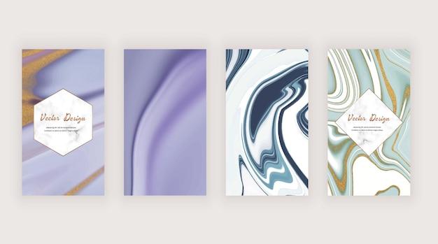 Фиолетовый и сине-белый с золотой текстурой блеска для историй в социальных сетях