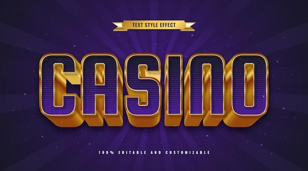 Фиолетовый и золотой стиль текста казино с эффектом трехмерного тиснения. редактируемый текстовый эффект