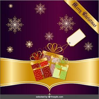 紫と金のクリスマスカード