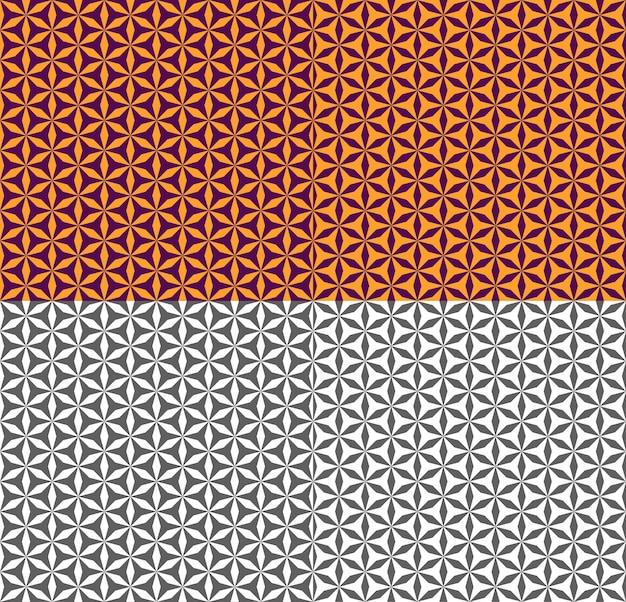 다각형과 보라색과 주황색 완벽 한 패턴입니다. 민족, 아랍어, 터키어 스타일의 기하학적 장식. 배경, 배경, 직물, 섬유, 벽지에 대한 벡터 단색 텍스처. 색상 반전.