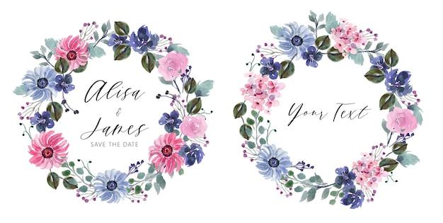 紫とピンクの花の水彩画花輪セット