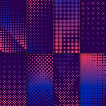 Purple and pink halftone background set