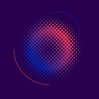 Purple and pink halftone badge vector